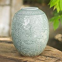 Celadon ceramic vase, 'Blue Plum Blossom' - Blue Floral Handcrafted Celadon Ceramic Vase