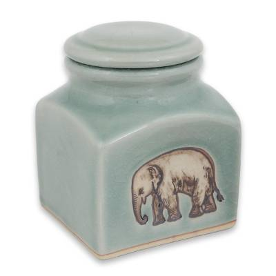 Thai Light Blue Celadon Ceramic Handcrafted Jar and Lid