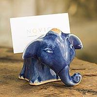 Celadon ceramic business card holder, 'Joyful Blue Elephant' - Blue Elephant Celadon Ceramic Business Card Holder