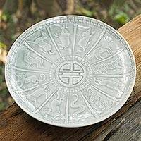 Celadon ceramic plate, 'Blue Constellation' - Handcrafted Light Blue Thai Celadon Ceramic Zodiac Plate