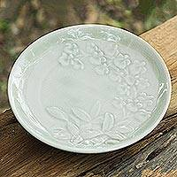 Celadon ceramic plate, 'Enchanted Green Orchids' - Handcrafted Green Floral Celadon Ceramic Plate from Thailand