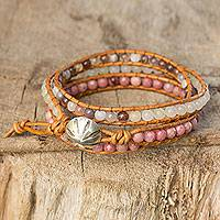 Rhodonite and agate wrap bracelet, 'Karen Rose' - Karen Hill Tribe Handcrafted Gemstone Wrap Bracelet