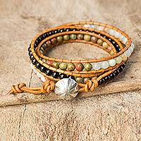 Onyx and unakite wrap bracelet, 'Karen Embrace' - Gemstone Karen Hill Tribe Leather Wrap Bracelet