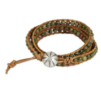 Unakite Wrap Bracelet with Karen Hill Tribe Silver