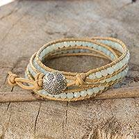 Amazonite wrap bracelet, 'Blue Hydrangea' - Blue Amazonite and Karen Hill Tribe Silver Wrap Bracelet