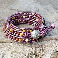 Jasper wrap bracelet, 'Bright Orchid Romance' - Jasper and Leather Wrap Bracelet Karen Hill Tribe Silver