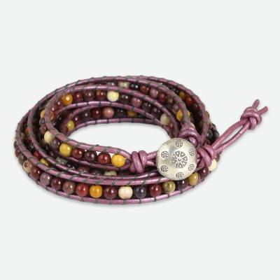 Jasper and Leather Wrap Bracelet Karen Hill Tribe Silver