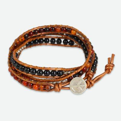 Onyx and Carnelian Wrap Bracelet with Hill Tribe Silver