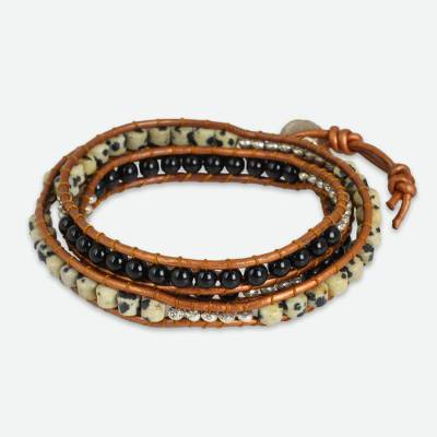 Onyx and Jasper Wrap Bracelet with Hill Tribe Silver