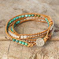 Quartz wrap bracelet, 'For Peace' - Quartz and Reconstituted Turquoise Leather Wrap Bracelet