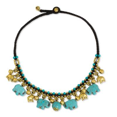 Hand Crafted Necklace with Brass and Blue Calcite Elephants