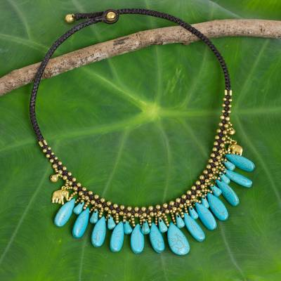 Beaded waterfall necklace, 'Elephant Blues' - Thai Handmade Necklace with Blue Calcite and Brass Elephants