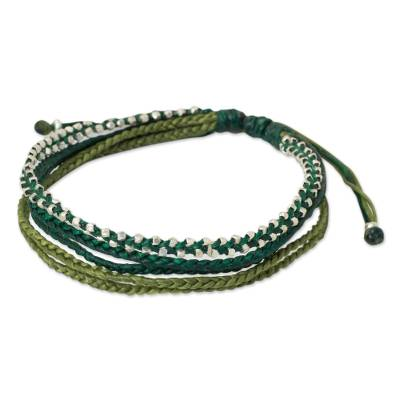 Hand Crafted Cord Wristband Bracelet with Silver Beads