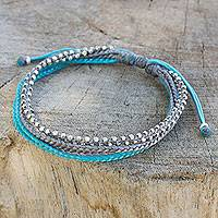 Silver beaded wristband bracelet, 'Sky Grey' - Hand Crafted Cord Wristband Bracelet with Silver Beads