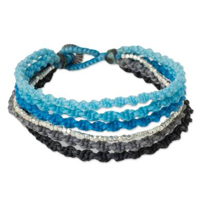 Hand Knotted Blue Wristband Bracelet with Silver Beads