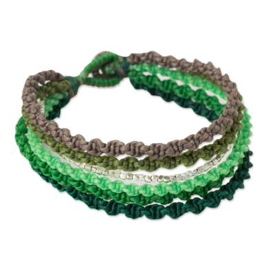 Thai Hill Tribe Silver Beads on Green Wristband Bracelet