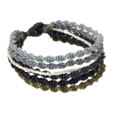 Artisan Crafted Wristband Bracelet with Silver Beads