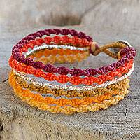 Silver wristband bracelet, 'Wondrous Orange' - Macrame Bracelet Artisan Crafted Wristband with Silver