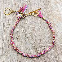 Gold plated multi-gemstone braided bracelet,