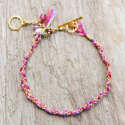 Gold plated multi-gemstone braided bracelet, 'Pink is for Unconditional Love' - Pearl Multi Gem Charms on Gold Plated Cotton Bracelet