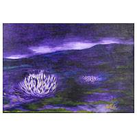 'Lotus in Heaven' - Impressionist Painting of Lotus Flower in Acrylic on Canvas