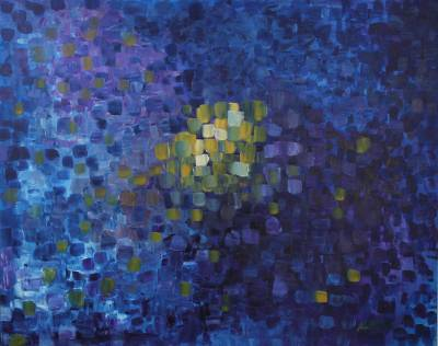 Large Abstract Original Painting in Blue Color Palette