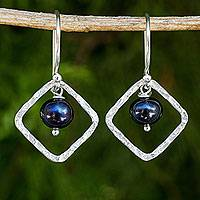 Cultured pearl dangle earrings, 'Black Moons' - Fair Trade Sterling Silver Earrings with Black Pearls