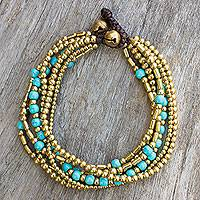 Beaded bracelet, 'Turquoise Freedom' - Artisan Crafted Bracelet with Brass and Turquoise Color Bead