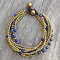 Lapis lazuli beaded bracelet, 'Blue Freedom'