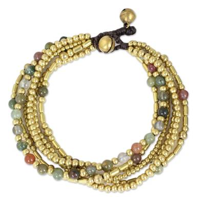 Brass Beaded Bracelet Crafted by Hand with Agate