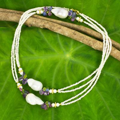Cultured pearls and multi-gemstone long beaded necklace, 'Star Breeze' - Handmade Necklace Multicolor Gemstones and White Pearls