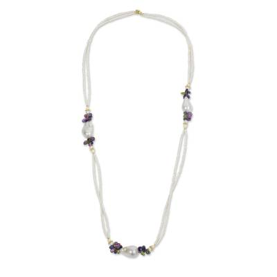 Handmade Necklace Multicolor Gemstones and White Pearls