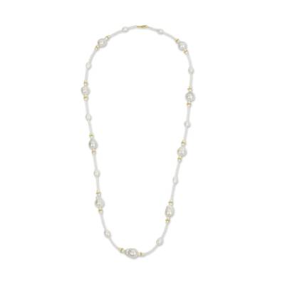 Golden Stars on White Pearl Strand Necklace Crafted by Hand