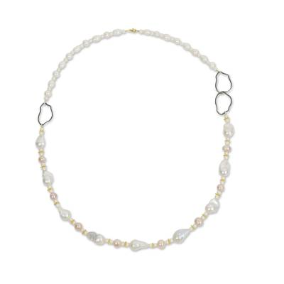 White Pearl Necklace with Sterling Silver and 24k Gold Plate