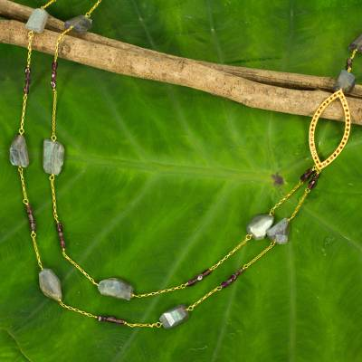 Gold plated labradorite and garnet beaded necklace, 'Lyrical Lanna' - Labradorite & Garnet on 24k Gold Plated Silver Long Necklace