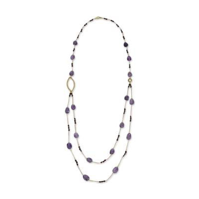 Amethyst and Garnet on Gold Plated Silver 35-Inch Necklace