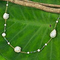 Gold plated cultured pearl station necklace, 'Exotic Beauty' - Pink and White Pearls on Gold Plated Necklace with Gemstones