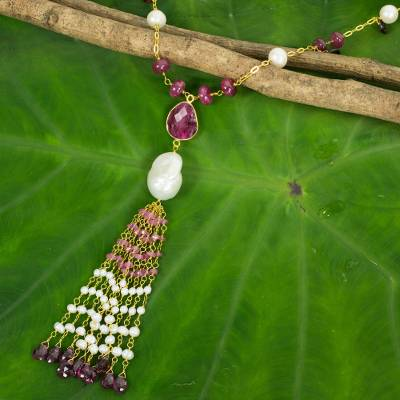 Gold plated cultured pearl and ruby pendant necklace, 'Siam Sonnet' - Gold Plated Silver and Gemstone Necklace with Pearl and Ruby