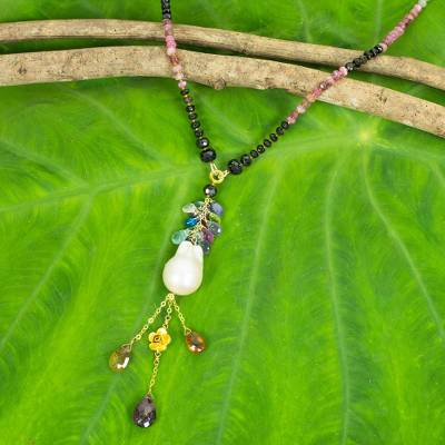 Gold plated cultured pearl and multi-gemstone pendant necklace, 'Precious Rainbow' - Handmade Necklace Multicolor Gemstones and White Pearls