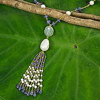 Gold plated cultured pearl and iolite pendant necklace,