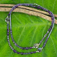 Iolite and amethyst beaded necklace,
