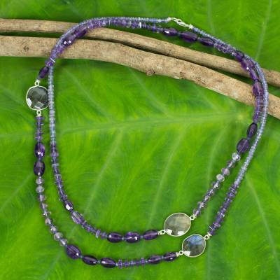 Iolite and amethyst beaded necklace, 'Lanna Mysteries' - Artisan Crafted Gemstone Necklace with Iolite and Amethyst