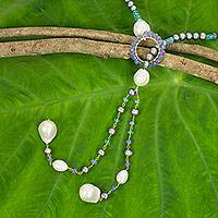 Cultured pearl and multi-gemstone lariat necklace, 'Treasures So Sweet' - Multi Gemstone and Pearl Lariat Necklace from Thailand