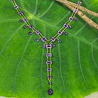 Gold plated amethyst Y-necklace, 'Lilac Princess' - Amethyst and Gold Plated Silver Y-Necklace from Thailand