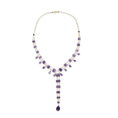 Amethyst and Gold Plated Silver Y-Necklace from Thailand