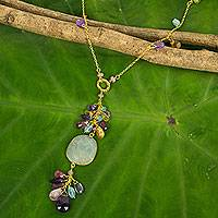 Gold vermeil multi-gemstone pendant necklace, 'Sweet Treasure' - Thai Handcrafted Gold Vermeil and Gemstone Necklace
