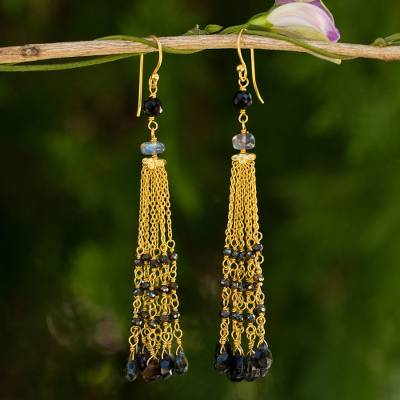 Gold plated labradorite and spinel waterfall earrings, 'Elysian Cascade' - Gold Plated Earrings with Labradorite Tourmaline and Spinel