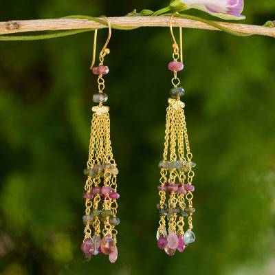 Gold plated tourmaline and labradorite waterfall earrings, Elysian Cascade