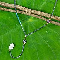 Labradorite and apatite long beaded necklace, 'Spellbound' - Thai Artisan Crafted Pearl and Multi Gemstone Long Necklace