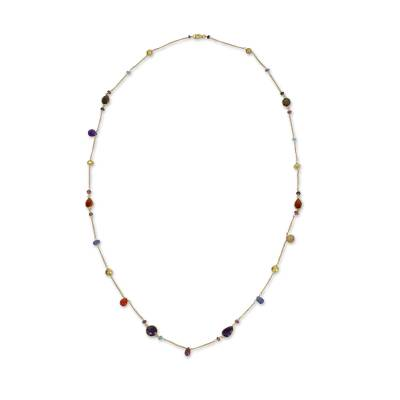 Multi Gemstones on Gold Plated Long Station Necklace